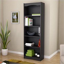 Corliving Hawthorn 72' Tall Bookcase in Midnight Black