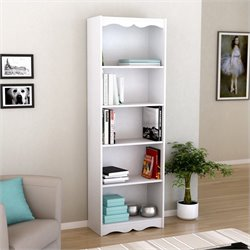 Corliving Hawthorn 72' Tall Bookcase in Frost White
