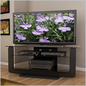 Sonax Atlantic 52 Midnight Black TV Stand with Glass Shelves in Black