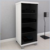 Sonax Holland 20 Wide Frost White & Glass Component Stand in White