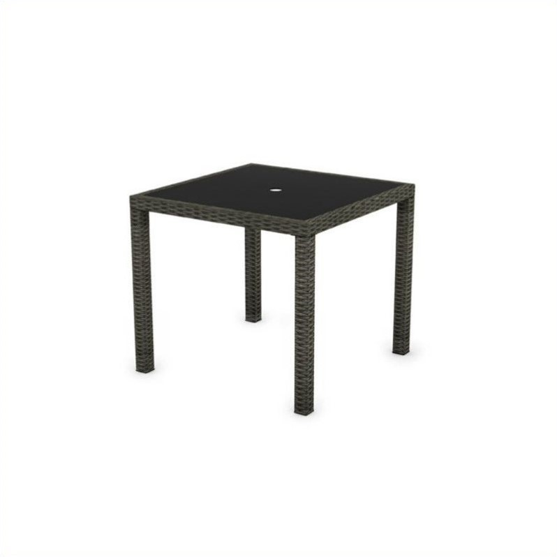 Corliving Park Terrace Wicker Patio Dining Table in Black Weave