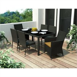 CorLiving Park Terrace 7 Piece Wicker Patio Dining Set in Black