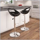 Sonax CorLiving Open Back Bar Stool in Black Gloss (Set of 2)