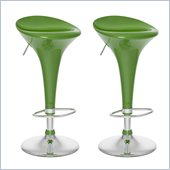 Sonax CorLiving Form Fitted Bar Stool in Green Gloss  (Set of 2)