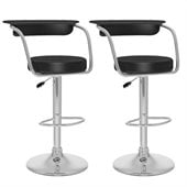 Sonax CorLiving Open Back Bar Stool in Black Leatherette (Set of 2)