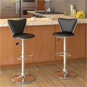 Sonax CorLiving Tall Back Bar Stool in Black Leatherette (Set of 2)