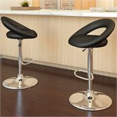 Sonax CorLiving Round Back Bar Stool in Black Leatherette (Set of 2)