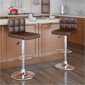 Sonax CorLiving High Back Bar Stool in Brown Leatherette (Set of 2)