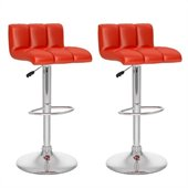Sonax CorLiving Low Back Bar Stool in Red Leatherette (Set of 2)