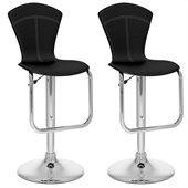 Sonax CorLiving Tapered Back Bar Stool in Black Leatherette (Set of 2)