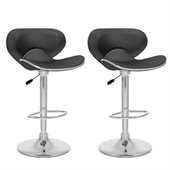 Sonax CorLiving Form Fitted Bar Stool in Black Leatherette (Set of 2)