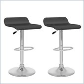 Sonax CorLiving Curved  Bar Stool in Black Leatherette (Set of 2)