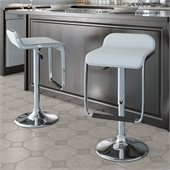 Sonax CorLiving Bar Stool with Footrest in White Leatherette(Set of 2)