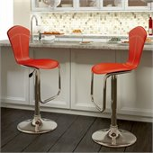 Sonax CorLiving Tapered Back Bar Stool in Red Leatherette (Set of 2)