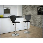 CorLiving High Back Bar Stool in Black Leatherette (Set of 2)