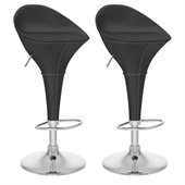 CorLiving Round Styled Bar Stool in Black Leatherette (Set of 2)