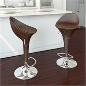 CorLiving Round Styled Bar Stool in Brown Leatherette (Set of 2)