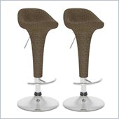 Sonax CorLiving Woven Vinyl Adjustable Bar Stool in Brown (Set of 2)