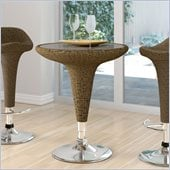 Sonax CorLiving Woven Vinyl Round Bar Table in Varicolored Brown
