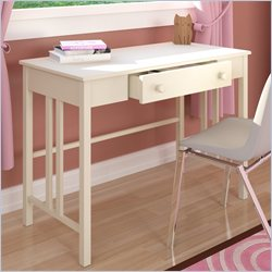 Sonax Corliving Plateau Workspace Desk with Drawer in Frost White