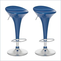 Sonax CorLiving Form Fitted Adjustable Bar Stool in Blue Gloss (Set of 2)