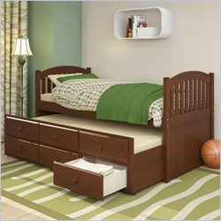 Sonax CorLiving Heritage Place Solid Wood Twin Platform Bed with Storage Trundle in Espresso Brown
