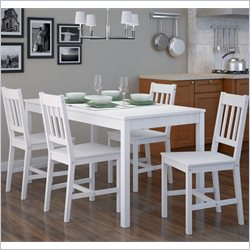 Sonax CorLiving 5 Piece Dining Set in Soft White Wash Finish