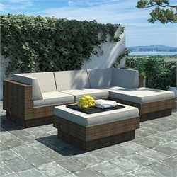 Corliving Park Terrace 5 Piece Sectional Patio Set in Coral Sand