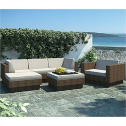 Corliving Park Terrace 6 Piece Sectional Patio Set in Coral Sand