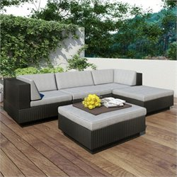 Corliving Park Terrace 5 Piece Sectional Patio Set in Black Weave