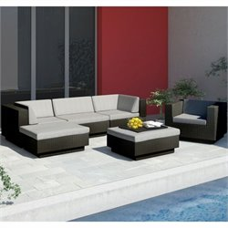 Corliving Park Terrace 6 Piece Sectional Patio Set in Black Weave