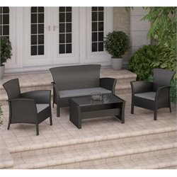 CorLiving Cascade 4 Pc Patio Set in Black Rope Weave