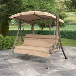 CorLiving Nantucket Patio Swing with Arched Canopy in Beige