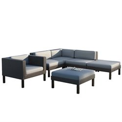 CorLiving Oakland 6 pc Sectional Chaise Lounge Chair Patio Set