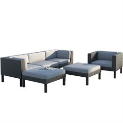 CorLiving Oakland 6 pc Sofa Chaise Lounge Chair Patio Set