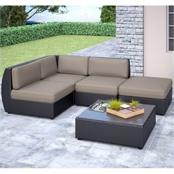 CorLiving Seattle Curved 5 pc Sectional Chaise Lounge Patio Set