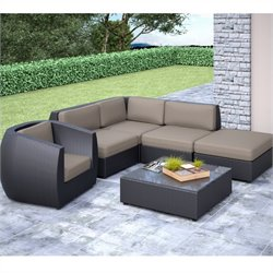 CorLiving Seattle Curved 6 pc Sectional Chaise Lounge Chair Patio Set