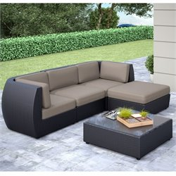 CorLiving Seattle Curved 5 pc Sofa Chaise Lounge Patio Set
