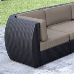 CorLiving Seattle Patio Corner Seat in Textured Black Weave