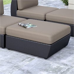 CorLiving Seattle Patio Ottoman in Textured Black Weave