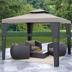 CorLiving Riverside Patio Gazebo in Textured Black Weave