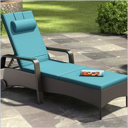 CorLiving Riverside Patio Reclining Lounger in Sky Blue