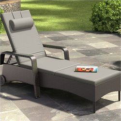 CorLiving Riverside Patio Reclining Lounger in Mid Grey