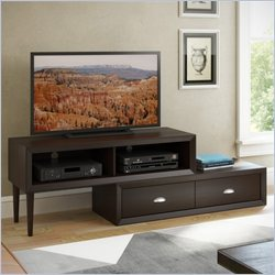 CorLiving Lakewood Two-Tiered Adjustable TV Bench in Espresso Finish