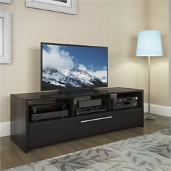 CorLiving Naples TV Component Bench in Wood Grain Black