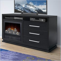 Sonax Holland 60 inch TV Bench with Fireplace in Black Wood Grain