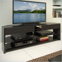 Sonax CorLiving Santa Brio Glossy Black TV Stand with Sound Bar for TVs up to 55
