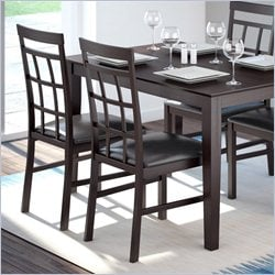 Sonax CorLiving Lattice Back Dining Chairs in Chocolate Black Bonded Leather (set of 2)