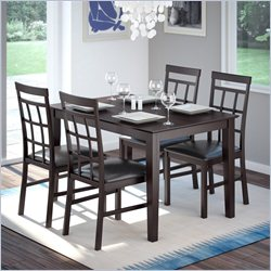 Sonax CorLiving 5pc Dark Cocoa Dining Set with Lattice Back Chairs - Chocolate Black Leather