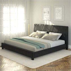 Sonax CorLiving San Diego Leatherette Upholstered King Bed in Black